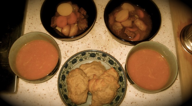 This was dinner: pumpkin soup, Irish stew, savoury buttermilk scones