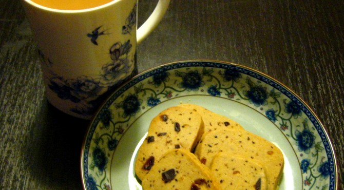Bedtime tea and cookies, artfully posed